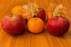 Ripe red apples on table close up Royalty Free Stock Images