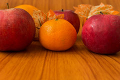 Ripe red apples on table close up Royalty Free Stock Photo