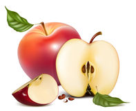 Free Ripe Red Apples With Green Leaves Stock Images - 18778474