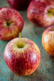 Ripe red apples on wooden Stock Photography