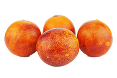 Ripe red blood oranges isolated on white background. Stock Photo