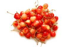 Ripe red cherries shot on a white background Royalty Free Stock Photo