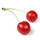 Ripe Red Cherries with Stem Isolated on White Background Royalty Free Stock Photos
