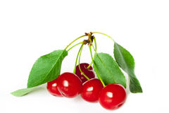 Ripe red cherry. Isolated on a white background Royalty Free Stock Photos