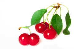 Ripe red cherry. Isolated on a white background Stock Image