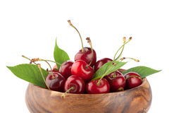 Ripe red cherry berries with leaves Royalty Free Stock Image