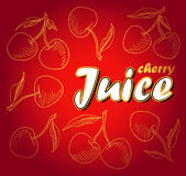 Ripe red cherry berries with leaves. Vector. Ripe red cherry berries with leaves. Vector Stock Illustration