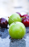 Ripe red cherry and plum Stock Photography
