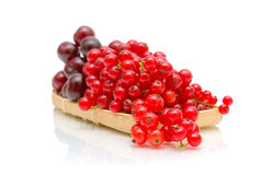 Ripe red currant berries and cherries in a basket on a white bac Royalty Free Stock Photo