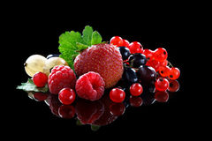 Ripe red currant berries, strawberries, raspberries and gooseberries on a black background. Royalty Free Stock Photo