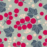 Ripe red currant seamless pattern. Red currant with leaves and flowers on shabby background. Original simple flat illustration. Shabby style stock illustration