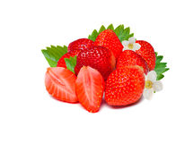 Ripe red of fresh strawberries with leaves. Isolated on a white background. royalty free stock photo