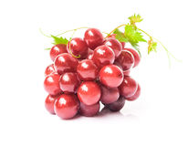 Ripe red grape with leaf on white background, fruit healthy conc Royalty Free Stock Image