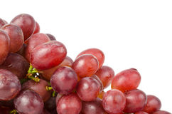 Ripe red grape with leaves isolated on white Stock Image