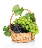 Ripe red grapes in basket Stock Photos