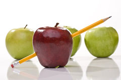 Ripe red and green apples. With pencil Royalty Free Stock Images