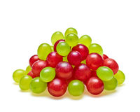 Ripe Red and Green grapes pyramid. Concept of freshness and health,  on white background, food close-up Stock Photo