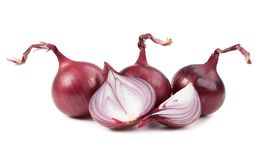 Ripe red onion, isolated on white Stock Photos
