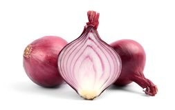 Ripe red onions. On white background stock photos