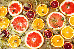 Ripe red oranges and grapefruits cut by rings Royalty Free Stock Photography