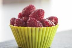 Ripe red organic raspberries farm fresh Stock Photo