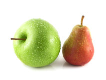 Ripe red pear with green apple on white. Background (water drops). fruit. Healthy fruit with vitamins Stock Photography