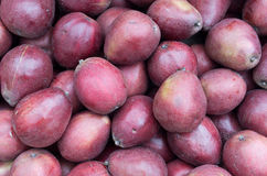 Ripe red pears on display Stock Photos