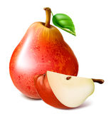 Ripe red pears with leaf. Royalty Free Stock Image