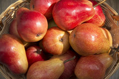 Ripe red pears in the rod basket on the wooden table Royalty Free Stock Photos