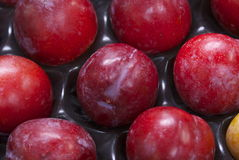 Ripe red plum fruit in packaging. Ripe red plums at a fruit and vegetable stall in an open air market. plums are used for baking and desserts or eaten on their Stock Photo