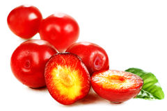 Ripe red plums. Stock Photo