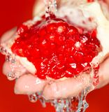 Ripe red pomegranate in her hand in water.  royalty free stock images