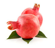 Ripe Red Pomegranates Fruits with Leaves Isolated Royalty Free Stock Photography