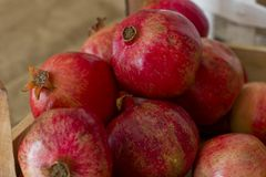 Ripe red pomegranates in a wooden box on brown burlap Stock Images