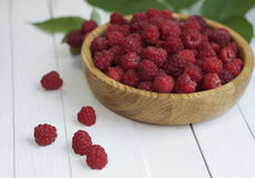 Ripe red raspberries in a bowl Royalty Free Stock Photography