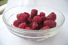 Ripe red raspberries in a glass bowl Royalty Free Stock Photos