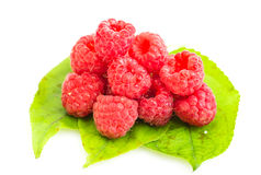 Ripe red raspberry on green laeves. Isolated on white background Royalty Free Stock Photo