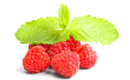 Ripe red raspberry with mint leaves. Isolated on white background Stock Photo