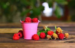 Ripe red raspberry in a pink metal bucket. On a brown wooden table Stock Photo