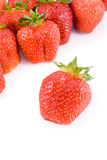 Ripe red strawberries. On white background Stock Photos