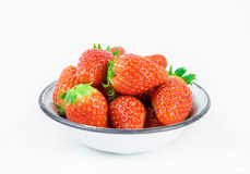Ripe red strawberries in iron bowl Royalty Free Stock Images