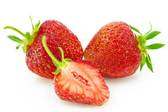 Ripe red strawberries isolated on white background Royalty Free Stock Photography