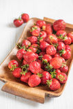 Ripe red strawberries on a tray for breakfast, view large Royalty Free Stock Photos