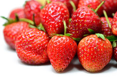 Ripe red strawberries on white background Royalty Free Stock Image