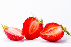 Ripe red strawberries on white background isolated Stock Images