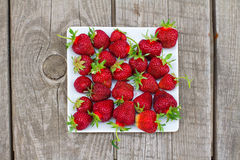 Ripe red strawberries on white plate Royalty Free Stock Photos
