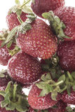 Ripe red strawberry fruits. Delicious red strawberries as a background stock image