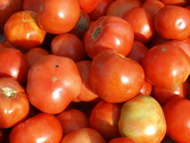 Ripe red tomatoes. Closeup view of red tomatoes at a farmers market Stock Photography