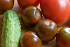 Ripe red tomatoes and cucumber Royalty Free Stock Photography