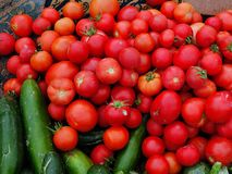 Ripe Red Tomatoes, Greek Street Market Stock Images